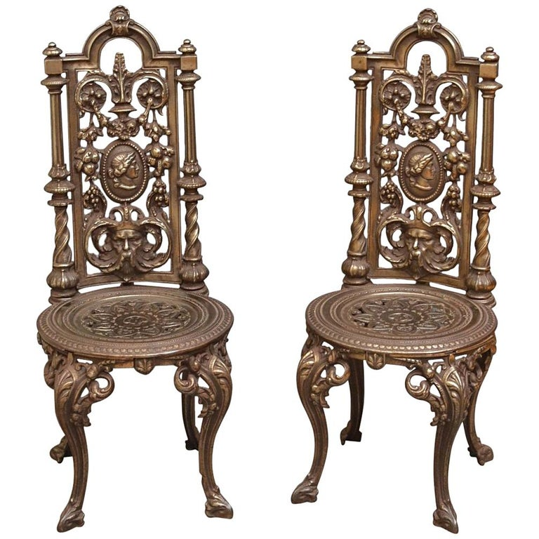 Pair Of Decorative Cast Iron Chairs For