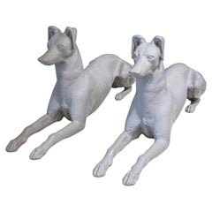 Pair of Decorative Cast Iron Whippet Dog Statues Attributed to Fiske