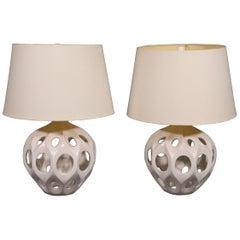 Pair of Decorative Ceramic Mid-Century Modern Geometric Table Lamps