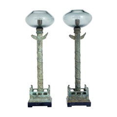 Pair of Decorative Chinese Influenced Bronze and Glass Hall Lamps