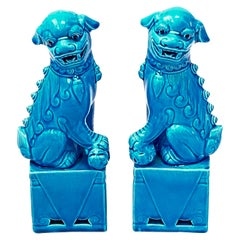 Pair of Decorative Chinese Turquoise Blue Medium Foo Dogs Sculptures, 1960s