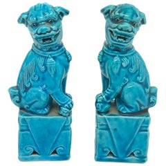 Pair of Decorative Chinese Turquoise Blue Mini Foo Dogs Sculptures