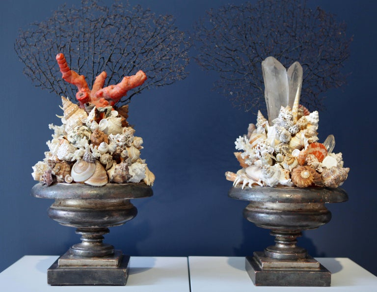 Pair of Decorative Coral Rock Crystal and Sea Shell Installations, Italy 1970s For Sale 1