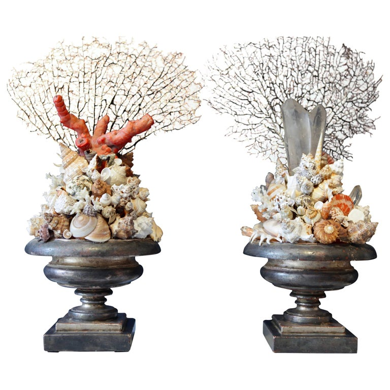 Pair of Decorative Coral Rock Crystal and Sea Shell Installations, Italy 1970s For Sale