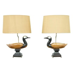 Pair of Decorative Duck Table Lamps, France, 1960s