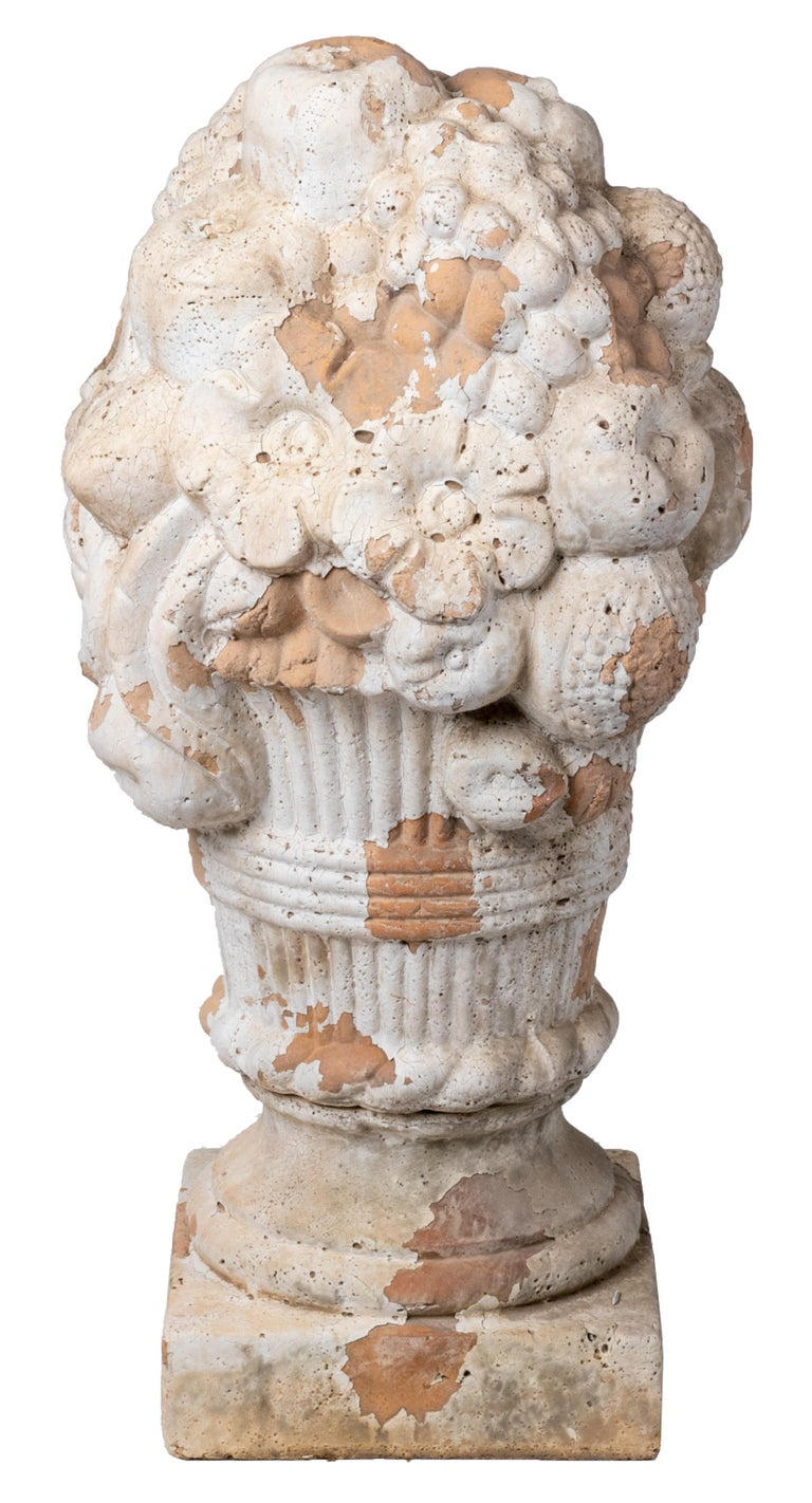 Pair of decorative French terracotta flower vases, for the garden and ideal tops for columns.