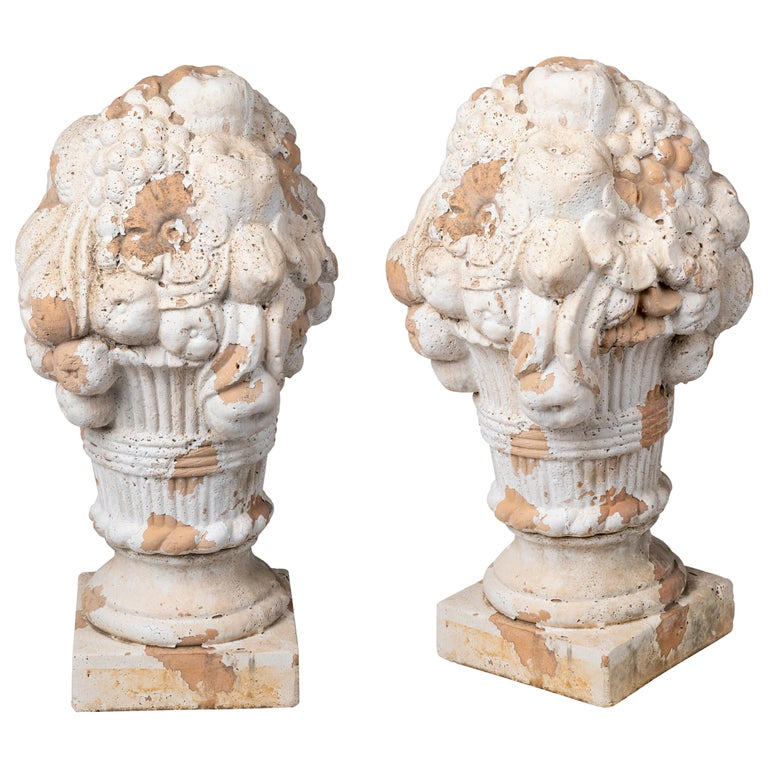 Pair of Decorative French Terracotta Flower Vases For Sale