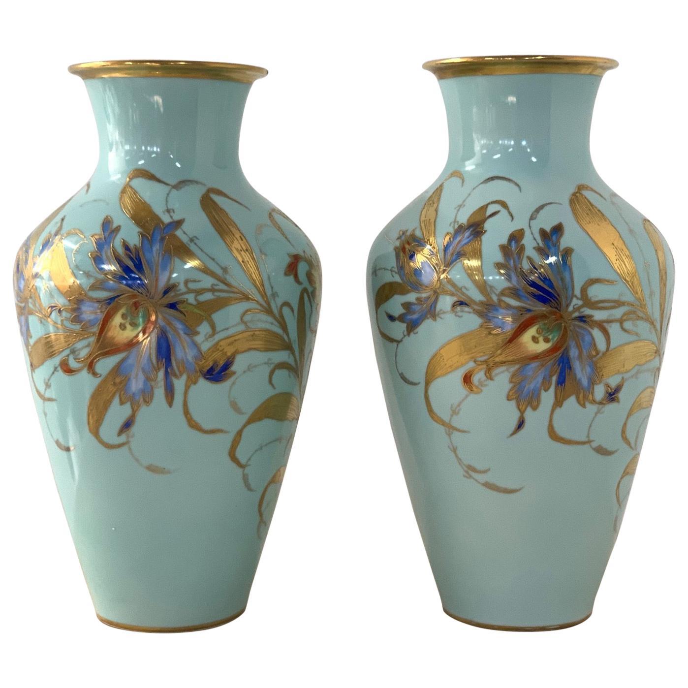 Pair of Decorative Hand Painted Ceramic Vases