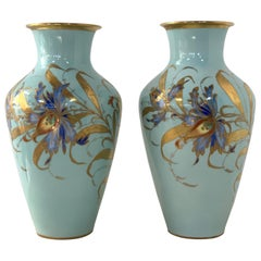 Pair of Decorative Hand Painted Ceramic Vases