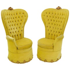 Pair of Decorative high Tall Tufted Back Barrel Shape Upholstered Lounge Chairs