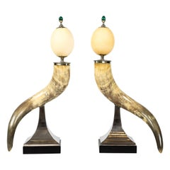 Pair of Decorative Horn and Ostrich Egg Garnitures by Antony Redmile