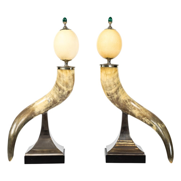 Pair of Decorative Horn and Ostrich Egg Garnitures by Antony Redmile For Sale