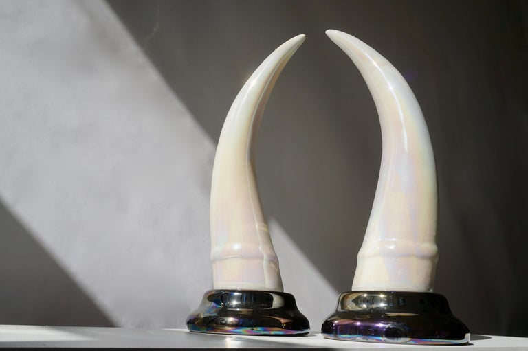 Hollywood Regency Pair of Decorative Iridescent Ceramic 'Elephant Tusk' Horn For Sale