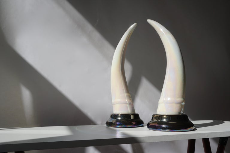 Italian Pair of Decorative Iridescent Ceramic 'Elephant Tusk' Horn For Sale