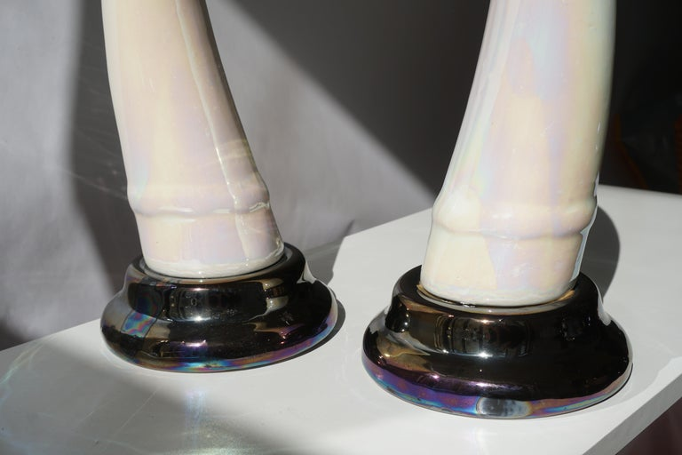 Pair of Decorative Iridescent Ceramic 'Elephant Tusk' Horn For Sale 2