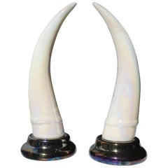 Pair of Decorative Iridescent Ceramic 'Elephant Tusk' Horn