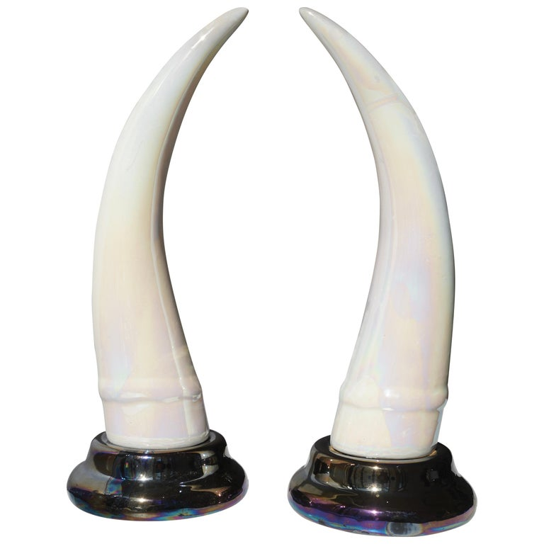 Pair of Decorative Iridescent Ceramic 'Elephant Tusk' Horn For Sale