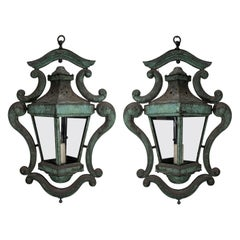 Pair of Decorative Italian Copper Lanterns