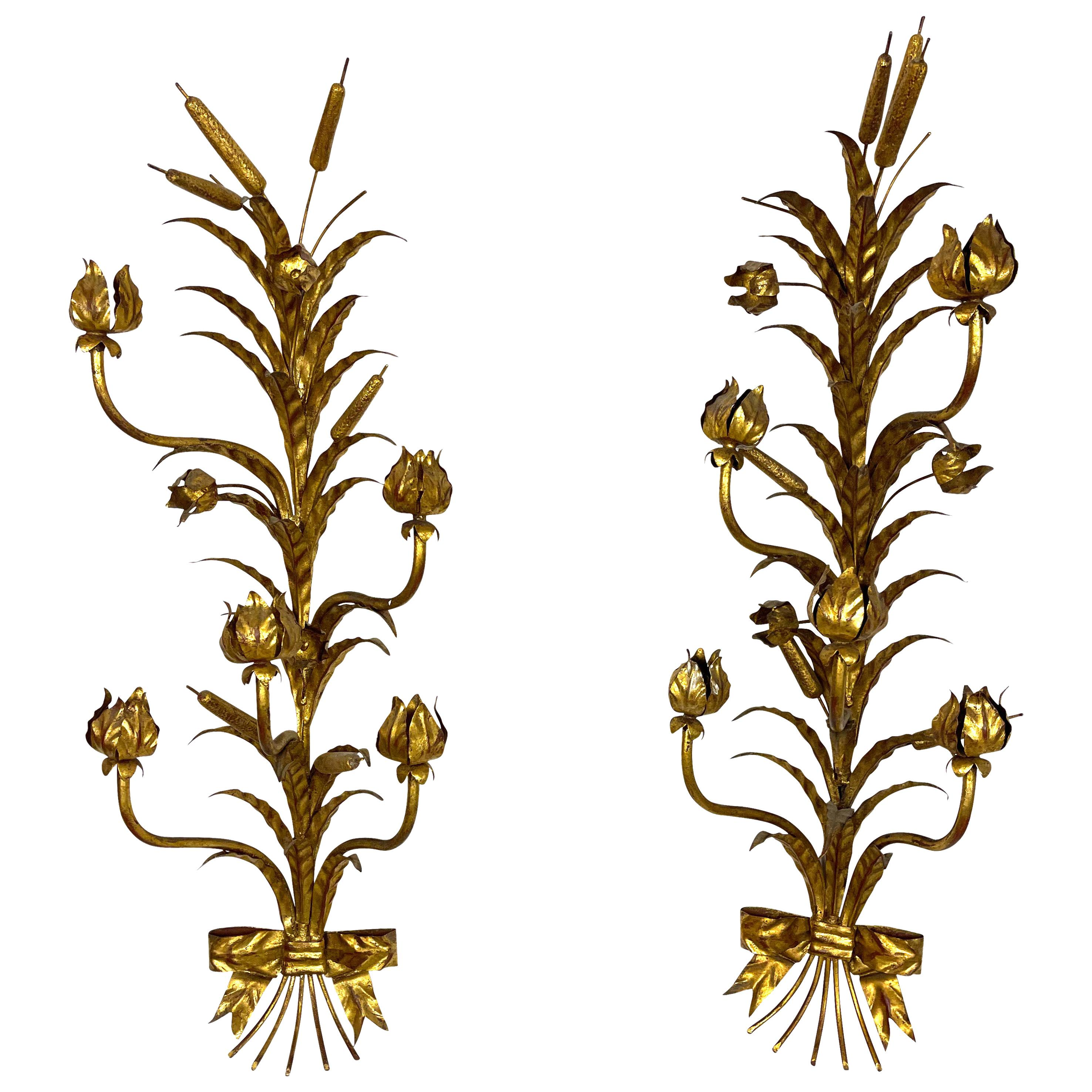 Pair of Decorative Italian Gilt Metal Candle Sconces Bulrush Motif