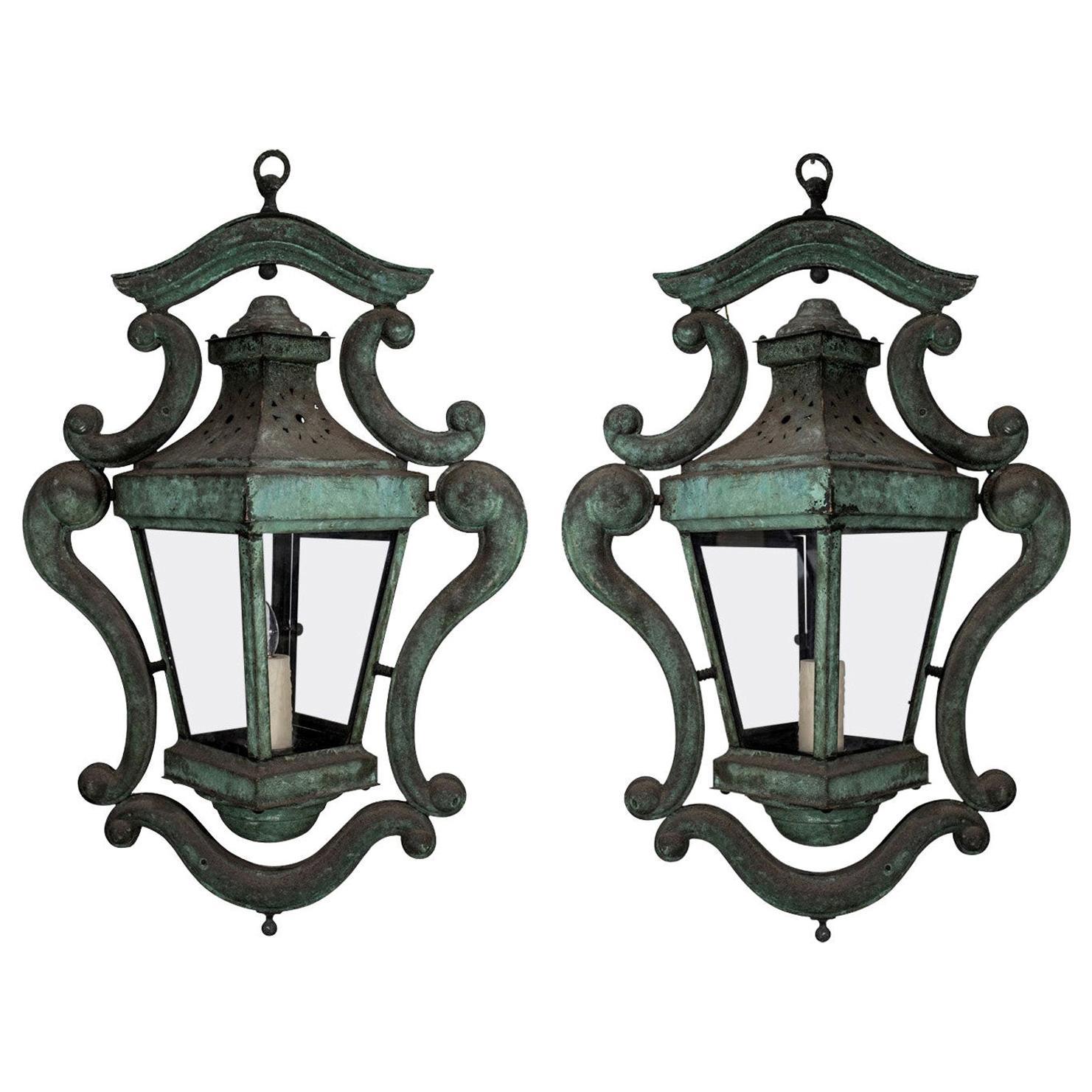 Pair of Decorative Italian Verdigris Copper Lanterns