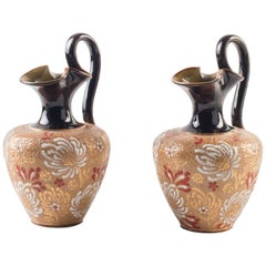 Pair of Decorative Jugs by Royal Doulton, End of the 19th Century