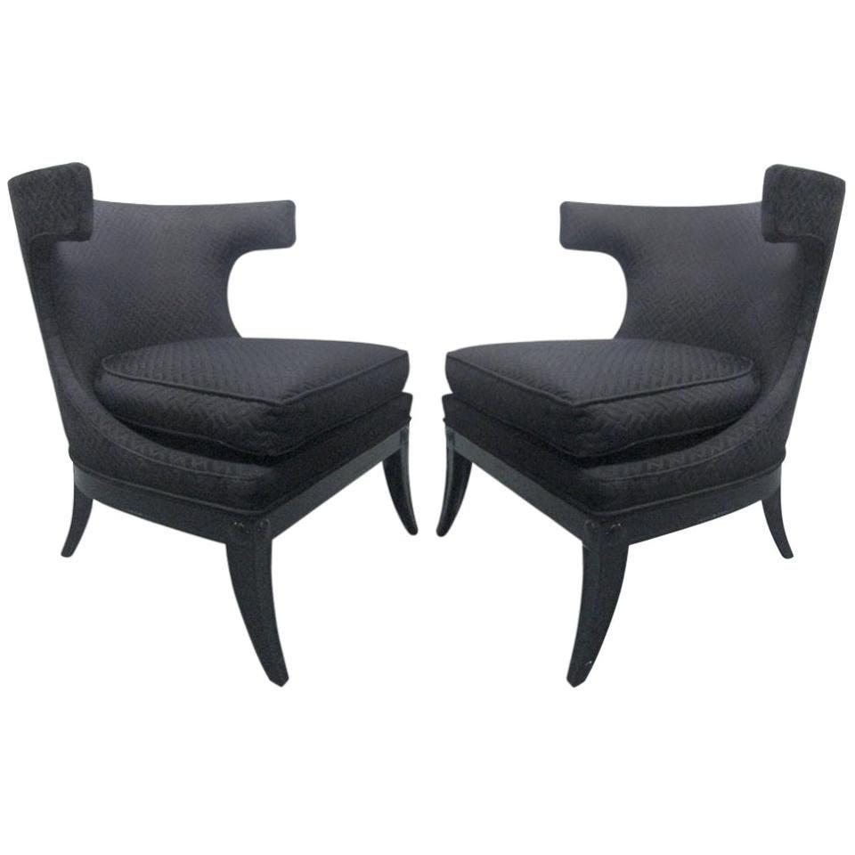 Pair of Decorative Klismos Lounge Chairs
