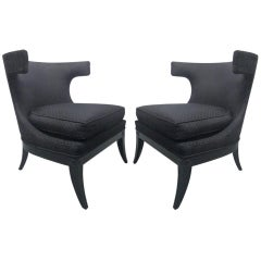 Pair of Decorative Klismos Lounge Chairs