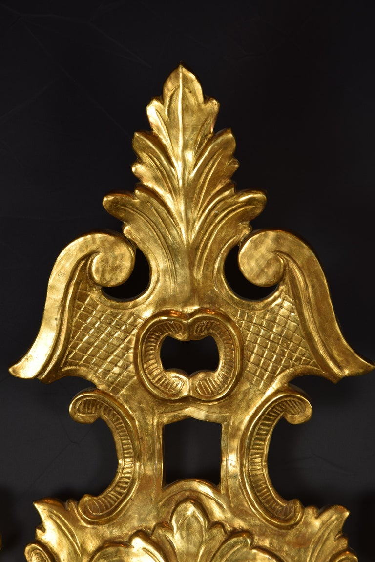 European Pair of Decorative Mirrors, Giltwood, 19th Century For Sale