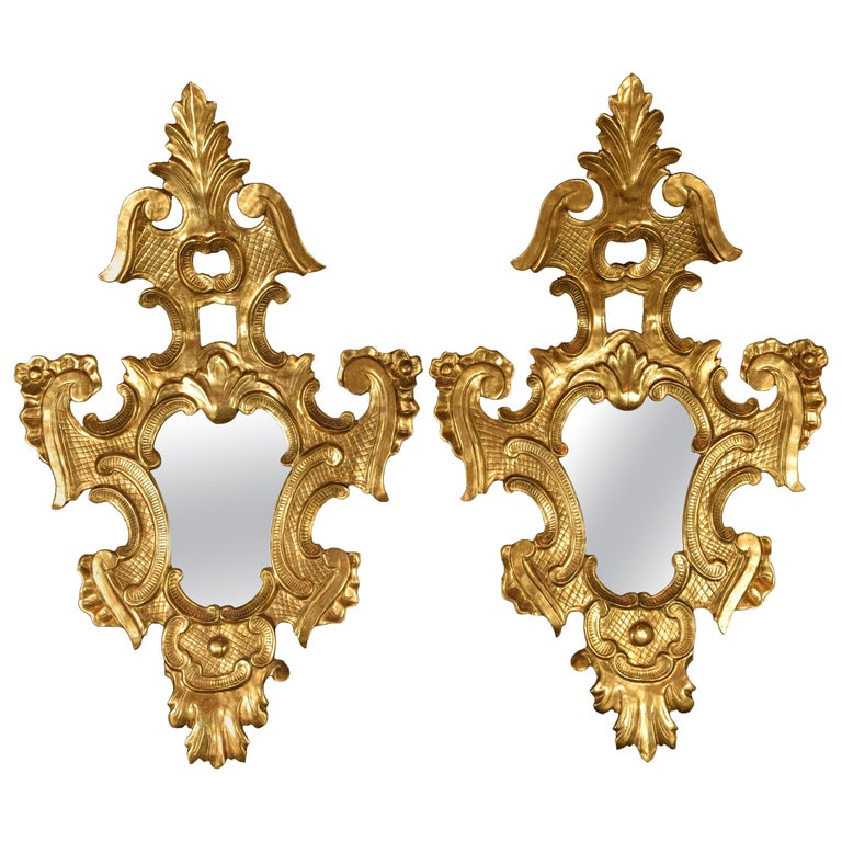 Pair of Decorative Mirrors, Giltwood, 19th Century For Sale