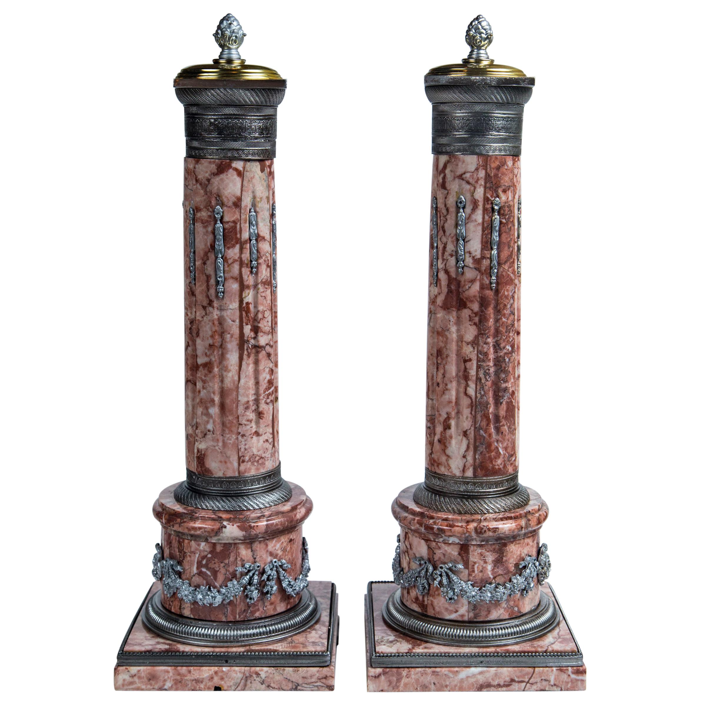 Pair of Decorative Mounted Marble Columns