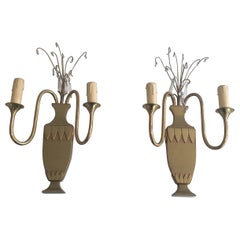 Pair of Decorative Neoclassical Brass & Crystal Wall Lights, French, circa 1940