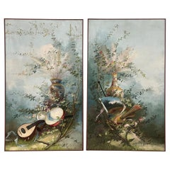 Pair of Decorative Oil on Canvas Paintings with a Floral Motif, 20th Century