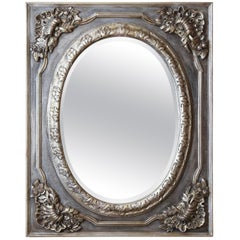 Pair of Decorative Painted and Silver Gilt frames  with  Oval Shaped mirrors