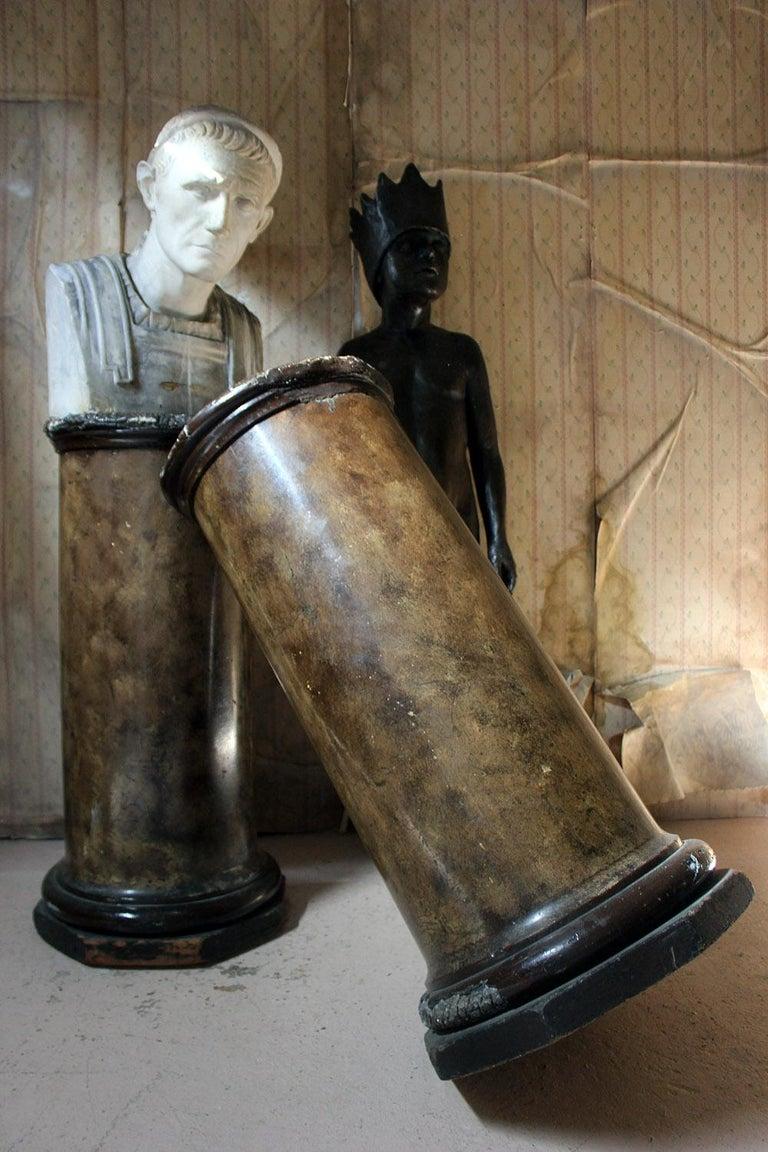 Pair of Decorative Painted Faux Marble Plaster Plinths/Pedestals, circa 1890 For Sale 12