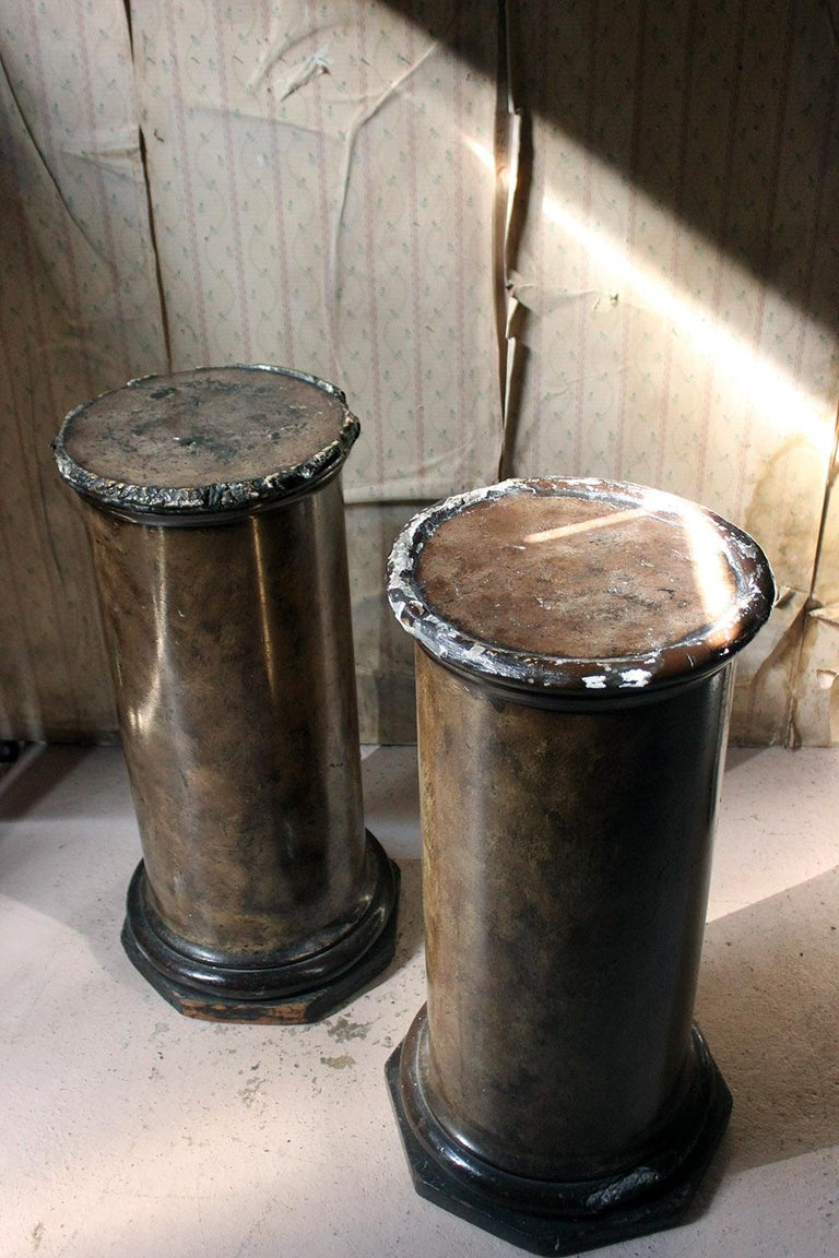 English Pair of Decorative Painted Faux Marble Plaster Plinths/Pedestals, circa 1890 For Sale
