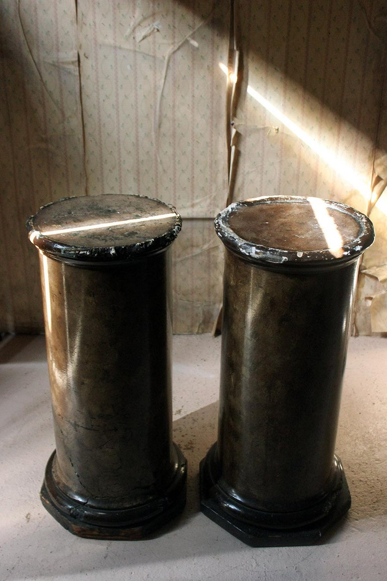 Pair of Decorative Painted Faux Marble Plaster Plinths/Pedestals, circa 1890 In Fair Condition For Sale In Bedford, Bedfordshire