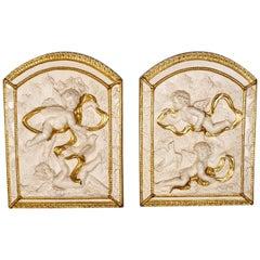 Pair of Decorative Panels, Plaster Reliefs, Putti, Cherubs, Plaques