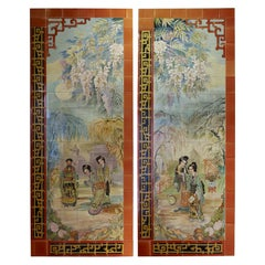 Pair of Decorative Panels with Japanese Decoration, Helman, Belgium, circa 1900