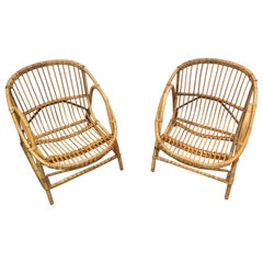 Pair of Decorative Rattan Armchairs, French, circa 1970