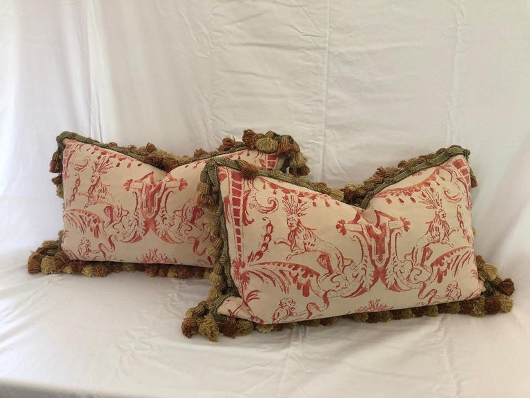 Very decorative pair of Red-on-Crème Fortuny rectangular down-filled cushions with tassel fringe. Fortuny's