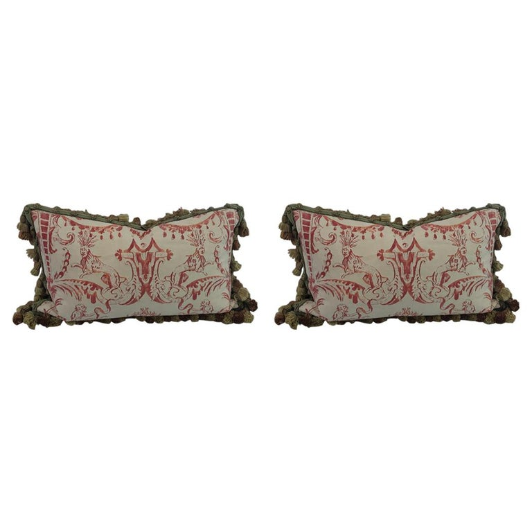 """Pair of Decorative Rectangular Fortuny Cushions in the """"MAZZARINO"""" pattern For Sale"""