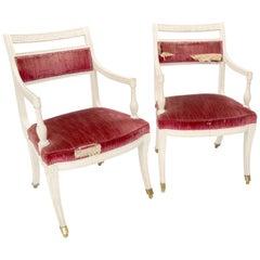 Pair of Decorative Regency Style Armchairs on Brass Ball Feet
