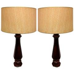 Pair of Decorative Rosewood Lamps