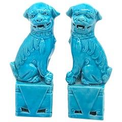 Pair of Decorative Turquoise Blue Mini Foo Dogs Sculptures