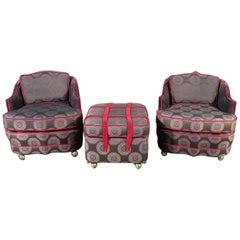 Pair of Decorator Chairs & Ottoman