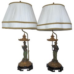 Pair of Decorator Chinoiserie Lamps