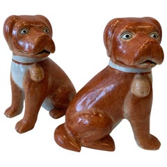 Pair of Decorator Hand Painted Chinese Porcelain Dogs