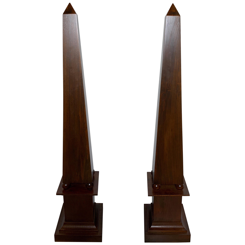 Pair of Decorator Tall Mahogany Finish Neoclassical Obelisks