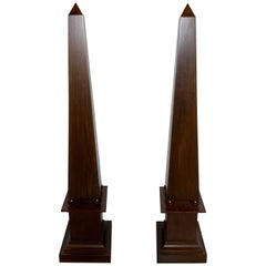 Pair of Decorator Tall Mahogany Finish Neoclassical Obelisks