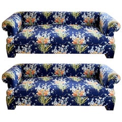 Pair of Deep Blue Floral Henredon Floral Sofas with Bench Seats
